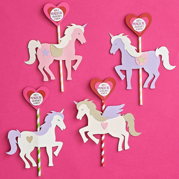 Unicorn Carousel Straw Valentine Card Kit