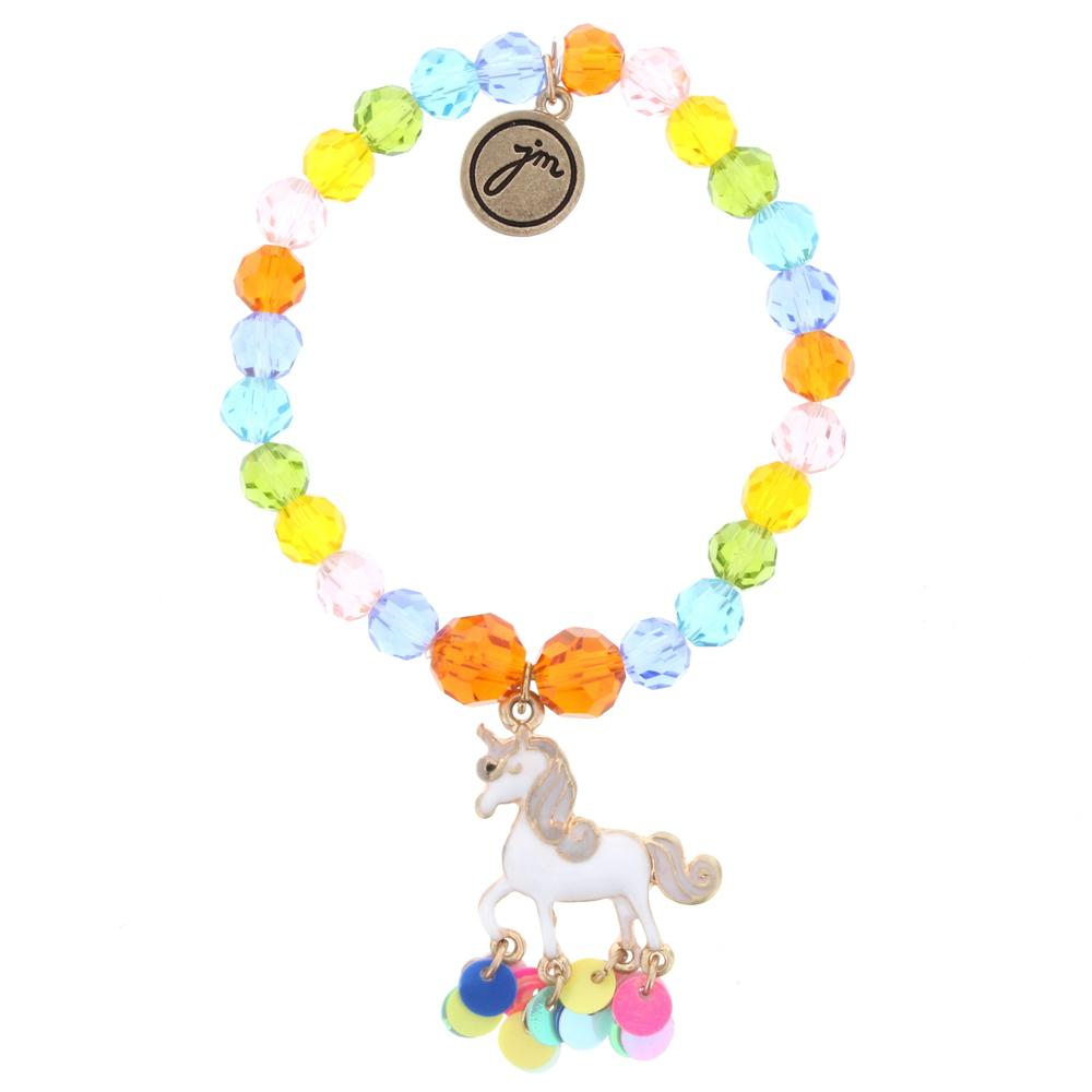 Multi Beaded Unicorn Bracelet with Sequin Dangle