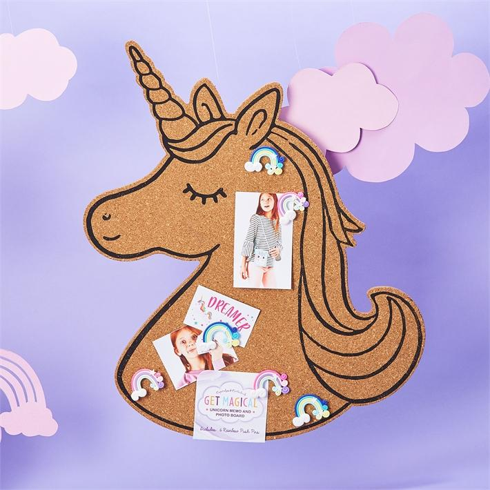 Unicorn Cork Board With 6 Pins
