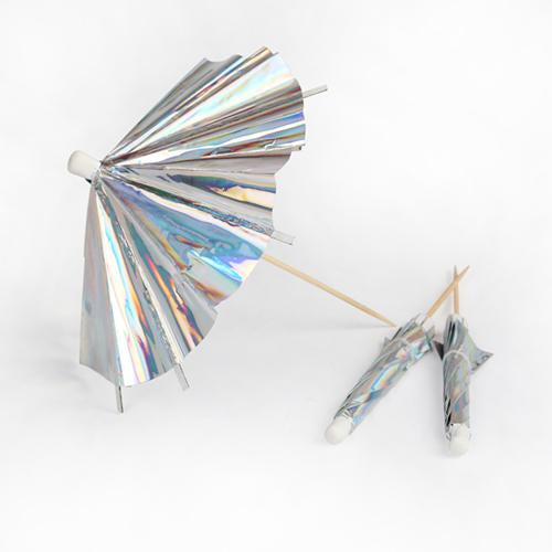 Large Holographic Silver Long Cocktail Umbrellas