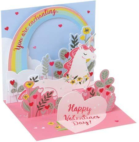 Unicorn Love 3D Pop-Up Valentine Card - Trinket Size