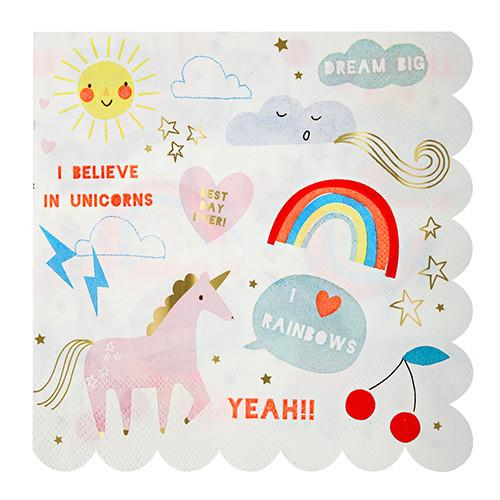 Rainbow & Unicorn Large Napkins - Set of 16 - the unicorn store