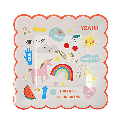 Rainbow & Unicorn Small Party Plates - Set of 8 - the unicorn store
