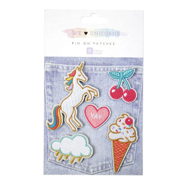 We Heart Unicorns - Embroidered Pin Patches - Set of 5