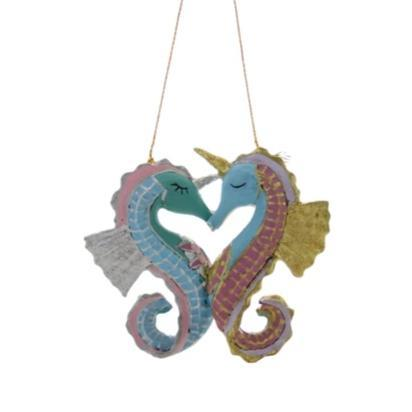 Unicorn Seahorses In Love Ornament