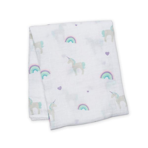 Rainbows & Unicorns Cotton Swaddle - the unicorn store