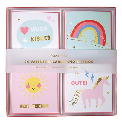 Unicorn Valentines Card Set with Tattoos