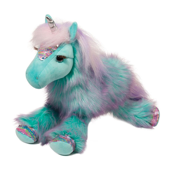 turquoise and purple unicorn plush