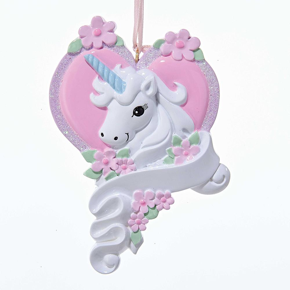 Resin Heart Unicorn Banner Ornament