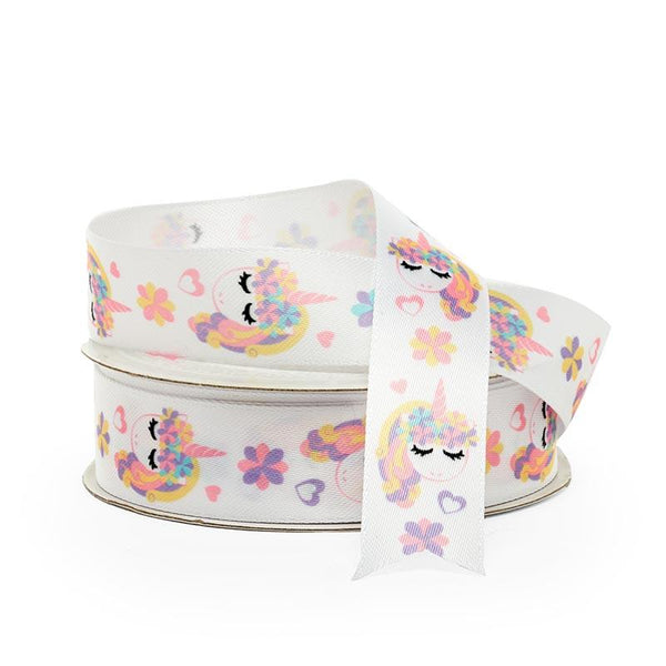 Unicorn Print White Satin Ribbon