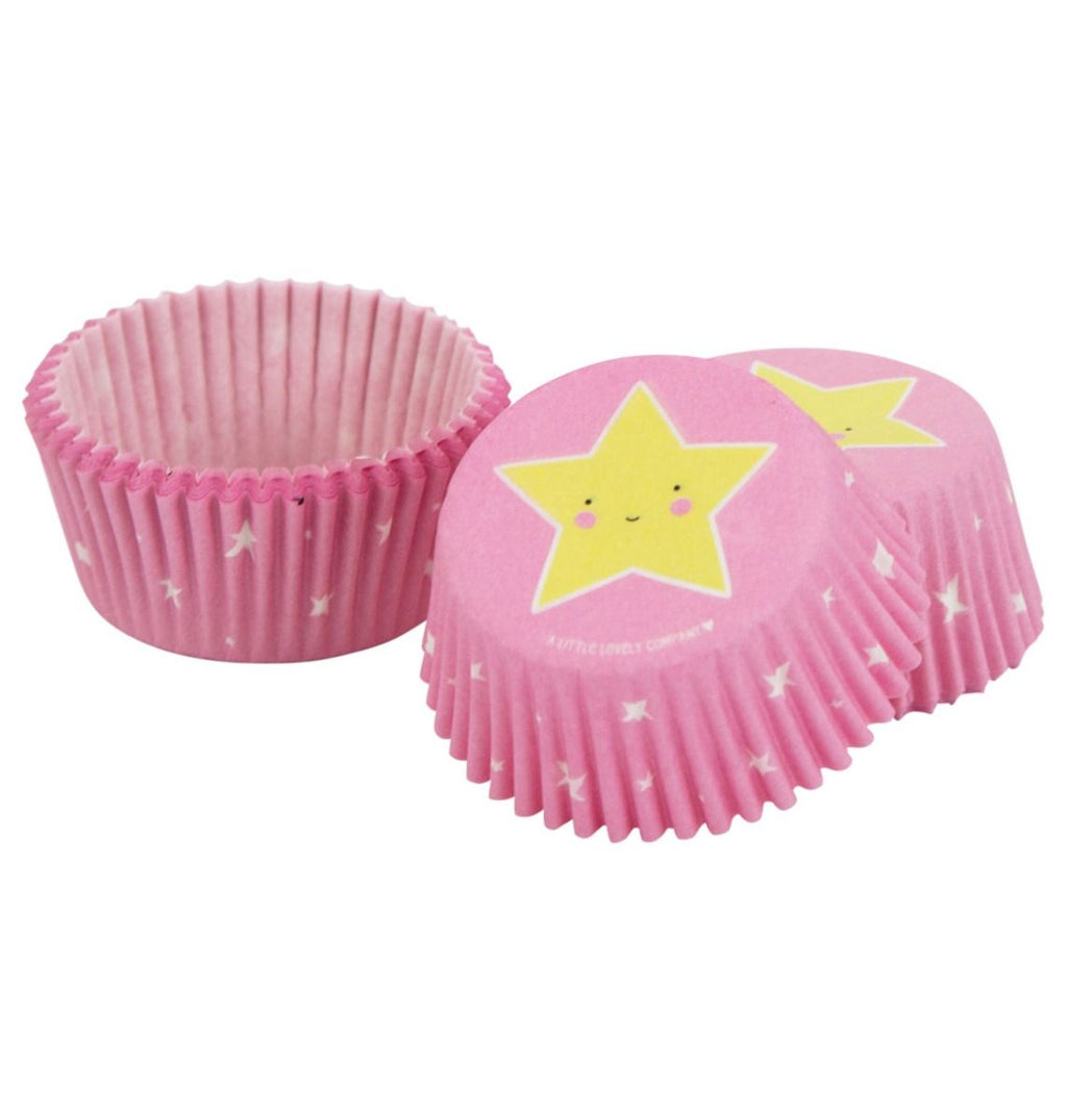 Pink with a yellow star face Cupcake Liners - the unicorn store