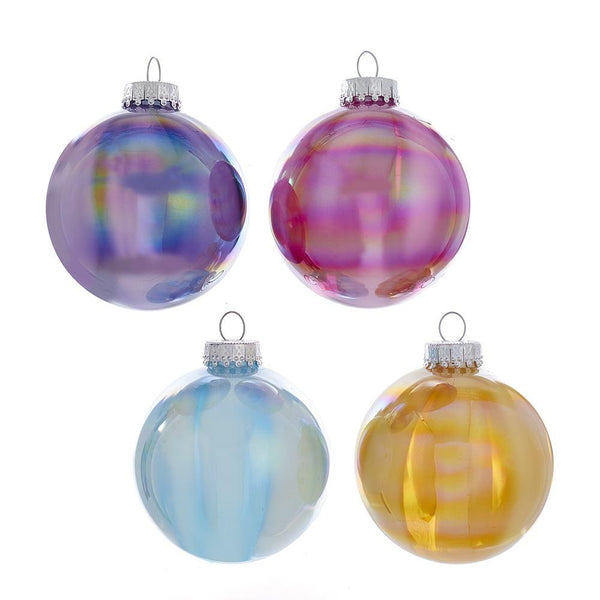 Glass Ball Iridescent Ornaments - Set of 4
