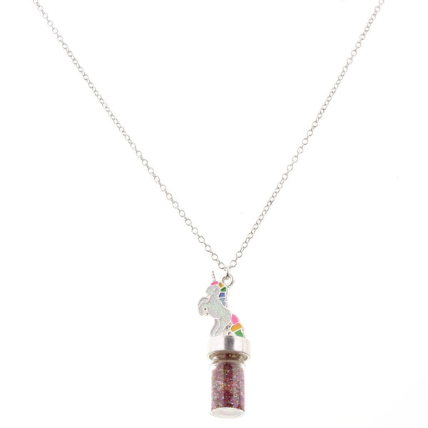 unicorn glitter jar necklace