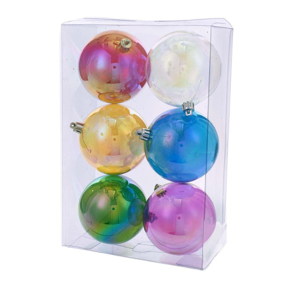 Shatterproof Clear Iridescent Ornament Set of 6 - the unicorn store