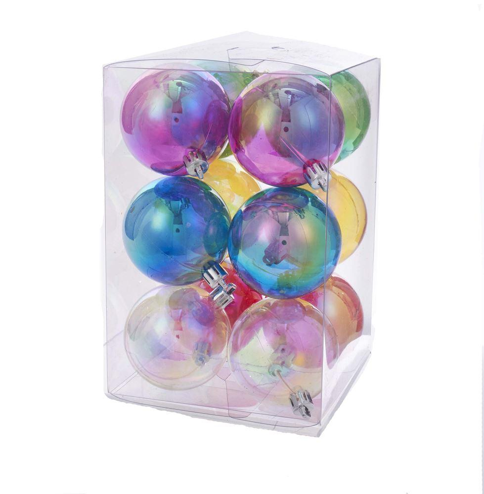 Shatterproof Clear Iridescent Ornament Set of 12