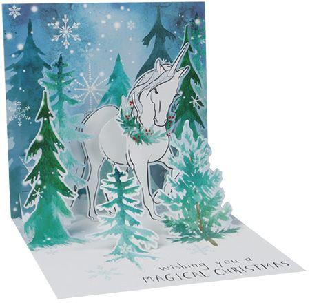 Magical Christmas Snowy Night Unicorn Light Up Pop Up Card - the unicorn store
