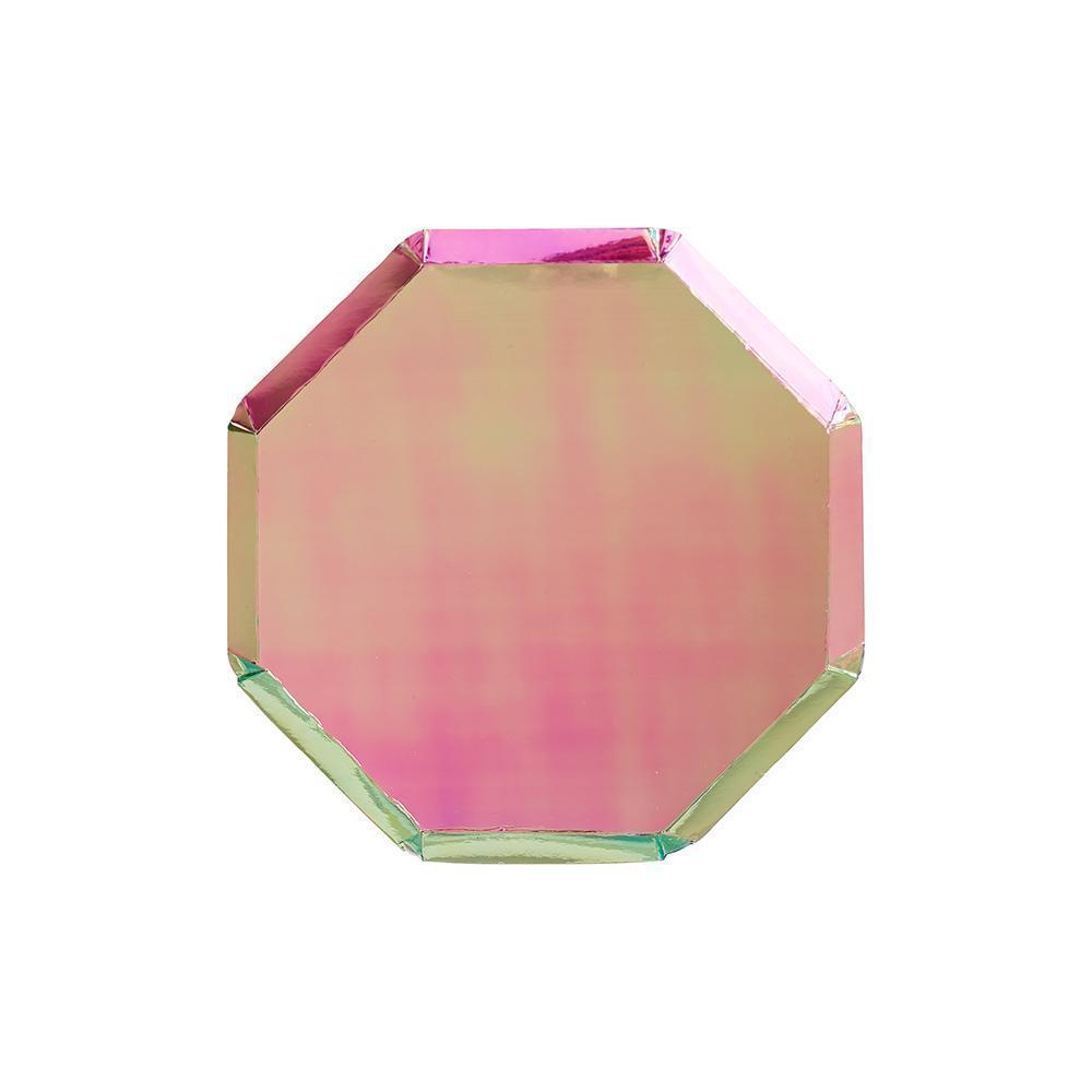 Oil Slick Foil Octagonal Cocktail Plates - Set of 8
