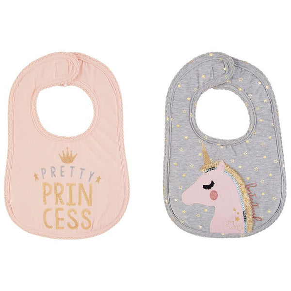 Princess and Unicorn Glitter Bibs