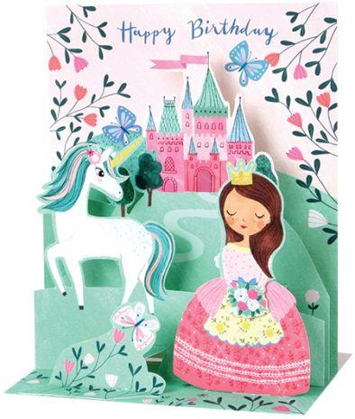 Happy Birthday Pop-Up Musical Card with a unicorn, princess, and a castle.