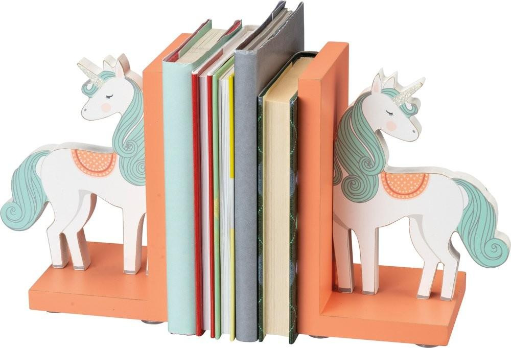 Wood Unicorn Bookends