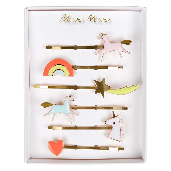 Unicorn Enamel Hair Clips - Set of 6