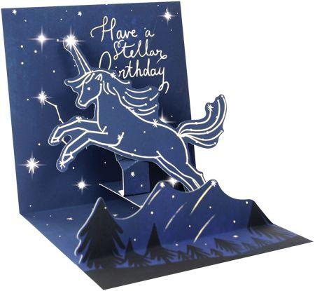 Unicorn Constellation Light Up Pop Up Birthday Card - the unicorn store