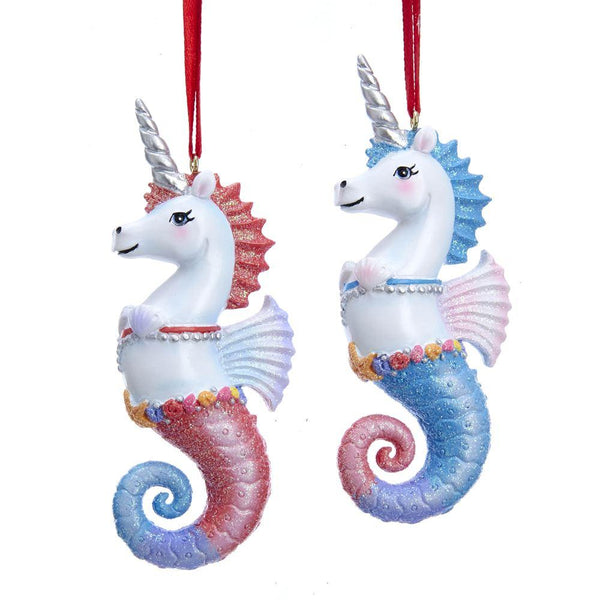 Unicorn Seahorse Ornaments Set of 2