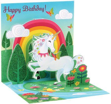 Spring Unicorn 3D Pop-Up Birthday Card - Trinket Size - the unicorn store
