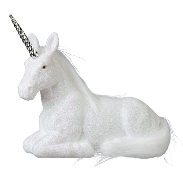 Laying White Glitter Unicorn Figure