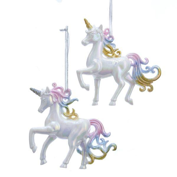 White Iridescent Unicorn Ornament Set