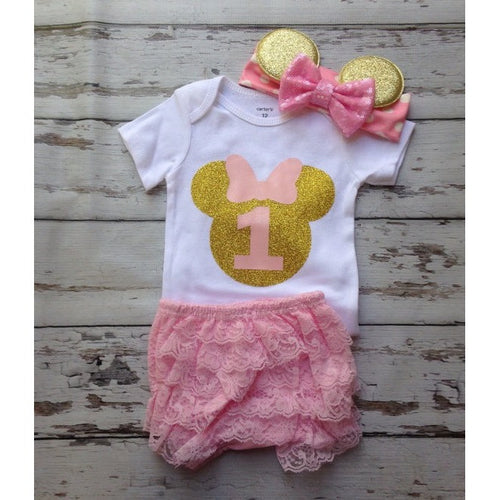 dc0f8526b 1st Birthday Pink and Gold Glitter Birthday outfit Onesie top minnie mouse  headband ruffled lace bloomers