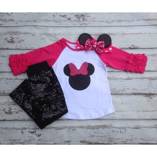 253b6be6f ... Girl Clothes Baby. $22.99. Hot pink Minnie mouse shirt bow headband and  black sequin pant set Disney land outfit Outfit