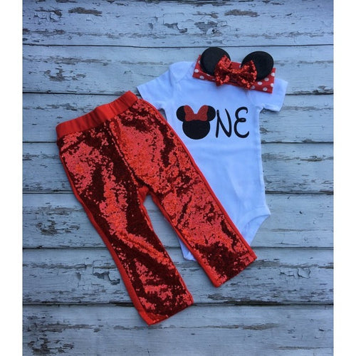 10f1c406e Red Minnie mouse Onepiece Onesie shirt headband and sequin pants set Babies  birthday Outfit Baby Girl