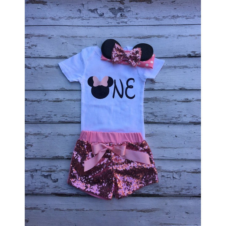 Minnie Mouse 1st Birthday Outfit.Pink Mouse Birthday Outfit Onesie Minnie Headband Sequin Shorts Babies 1st Birthday Set Pink Black Minnie Mouse Cake Smash