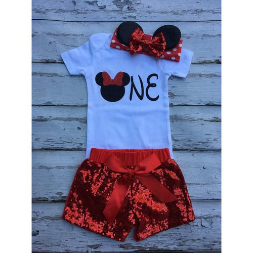 8245d99d9 Red Minnie Mouse mouse birthday outfit Onesie Minnie headband sequin shorts  babies 1st birthday set Red