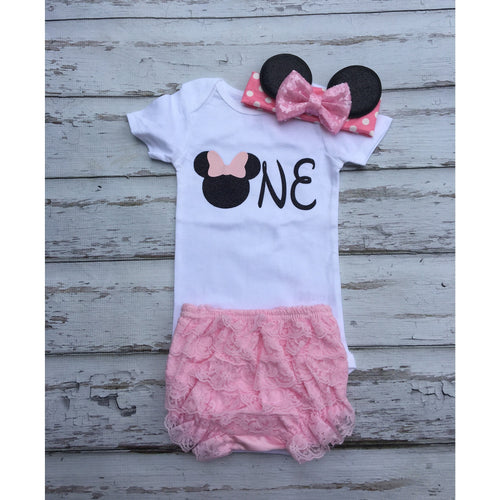 8d668e4614a2 1st Birthday Light pink and black Glitter Birthday outfit Onesie Minnie  headband ruffled lace bloomers babies
