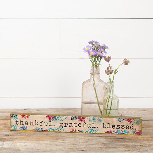 Thankful Grateful Blessed Skinny Wood Sign