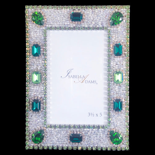 3.5 x 5 Emerald & Peridot Crystal Picture Frame Featuring Swarovski © Crystals