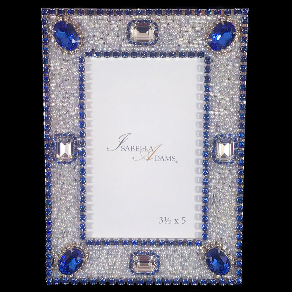 3.5 x 5 Sapphire & Clear Crystal Picture Frame Featuring Swarovski © Crystals