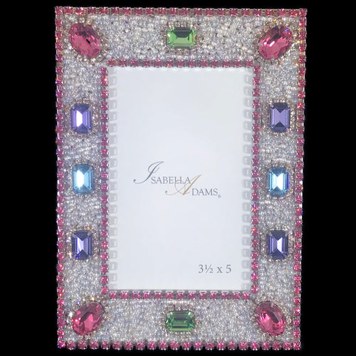 3.5 x 5 Multi-Color Crystal Picture Frame Featuring Swarovski © Crystals