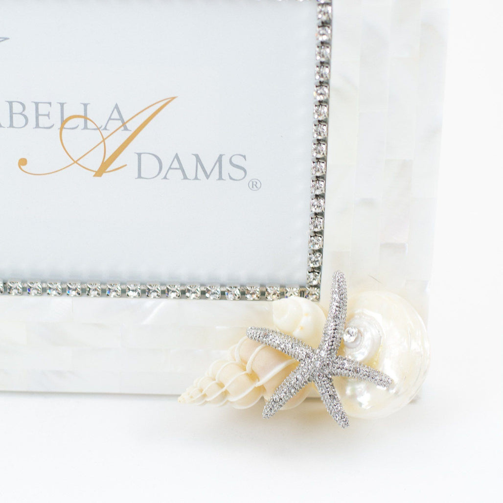 Copy of 5 x 7 Mother of Pearl Starfish Picture Frame Featuring Swarovski © Crystals and Natural Seashells