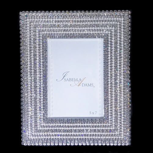 5 x 7  Picture Frame Featuring Clear Swarovski © Crystals and Freshwater Pearls