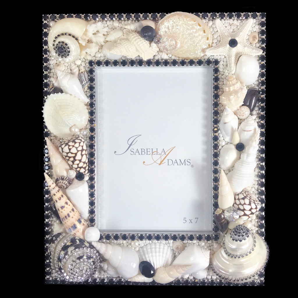 5 x 7 Black & White Seashell Picture Frame Featuring Jet Swarovski © Crystals