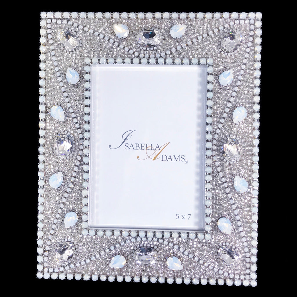 5 x 7 Silver Shade Crystallized Picture Frame Featuring White Opal Swarovski © Crystals