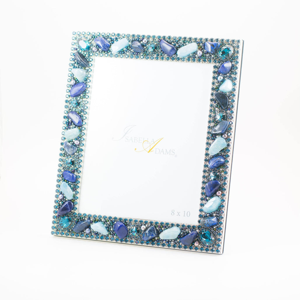 8 x 10 Picture Frame Featuring Blue Swarovski © Crystals and Gemstones