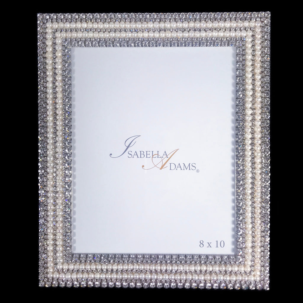 8 x 10 Picture Frame Featuring Swarovski © Crystals and Freshwater Pearl