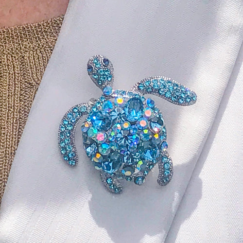 Aquamarine Crystallized Turtle Brooch Pin