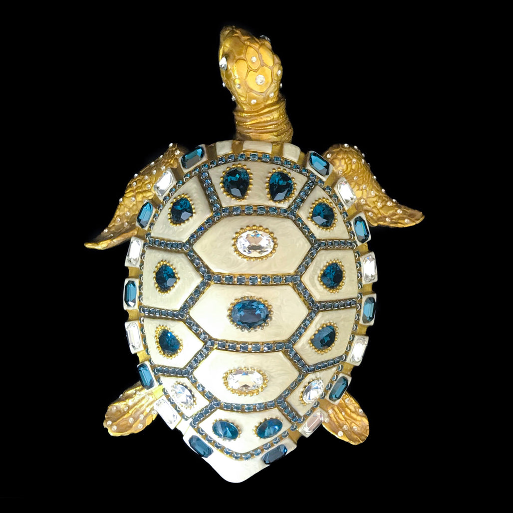 Sea Turtle Sculpture Featuring Montana Blue & Clear  Swarovski © Crystals / Signed & Numbered