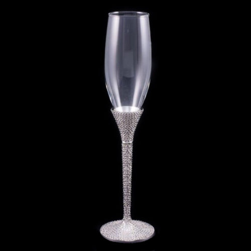 Wedding Champagne Glass with Clear Swarovski © Crystals