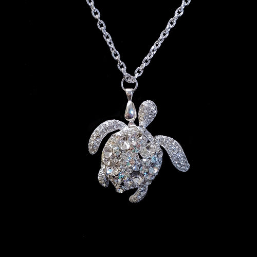 Clear Sea Turtle Necklace Featuring Swarovski © Crystals